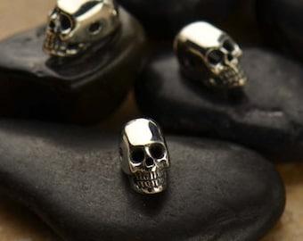1 pc ~ Mini Sterling Silver Skull Bead