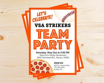 Editable Baseball Team Pizza Party Invitations - INSTANT DOWNLOAD PRINTABLE - Orange and Black