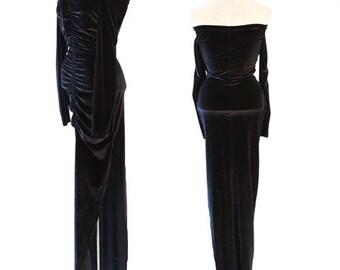 Vintage 80s Black Velvet bodycon Dress S