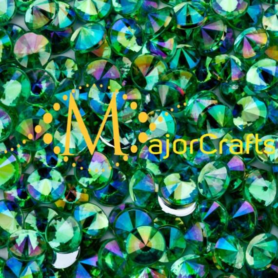 Light Green AB Flat Back Pointed Rivoli Acrylic Rhinestones Embellishment Gems - C3