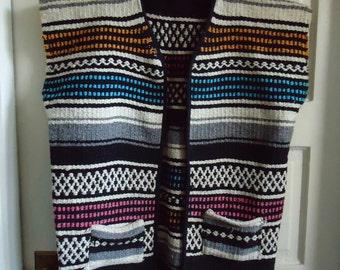 Vintage 70s MEXICAN BLANKET Poncho Vest sz M/L