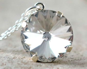 Diamond | Swarovski Necklace | Crystal Necklace | Swarovski Crystal | Silver Necklace | Beach Wedding | Diamond Wedding | Gift For Her