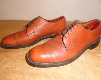 Men's Vintage Tan Brown Grain Leather NETTLETON Dress Shoes Oxfords Sz-10.5 A/C