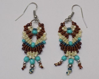 Micro Macrame  Earrings Beaded Turquoise Brown and Cream