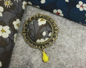 Liberty Fabric Brooch Pin in Mitsi Grey