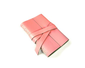 "Leather Journal or Sketchbook in Pink Leather 4""x6"" pocket book, travel journal"