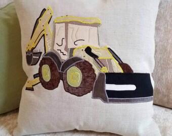 """JCB Yellow Digger Cushion Pillow Vehicle builder 18""""x18"""" 45x45cm Bye Brytshi"""