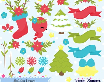 INSTANT DOWNLOAD, christmas clipart and holiday vectors for crafts and products