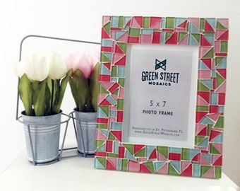 Colorful Mosaic Picture Frame, Springtime, Easter Decor, Gift Idea, Picture Frame - Pink, Aqua, Lime Green, Coral