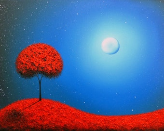Surreal Art Print of Oil Painting, Blue Nightscape, Contemporary Art Large Artwork, Fine Art Print of Red Tree Landscape Painting, Fantasy