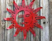 Sun/Moon Face Fence & Wall Decor - Red Celestial Yard and Patio Decor - Metal Yard Art