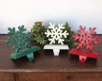 3 Snowflake Stocking Holders, Glittered Green/White/Red Metal Stocking Hangers, Christmas Holiday Mantel Dec