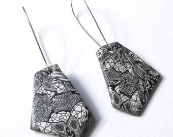 Dangle Geometric Earrings, Black and White Earrings, Polymer Clay, Lightweight Earrings, Modern Earrings, Contemporary Jewellery, Minimalist