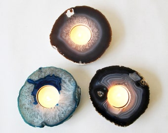 Agate Tealight Holder - Gorgeous Agate Slab Tealight or Candle Holder - Great Gift