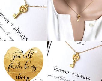Key to My Heart Necklace...Gold...Layering Necklace, Love, key to my heart