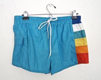 1980s Multi-Color Stripe Swim Trunks / vintage Remmies baby blue striped swimsuit, swimming shorts  / men's small-medium