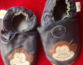 Little Leather Slippers / Monkey Face Baby Shoes