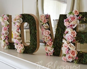 "LOVE flower letters, 8"" Letters, Bridal shower, Banners and signs, Flower letters, Shabby chic, Floral letters, Engagement sign, Pink Rose"