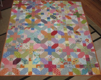 Ready to Ship OOAK Colorful Quilt, Scrap Quilt, Modern Quilt, Plus Quilt, Hugs and Kisses Quilt, Contemporary Quilt,  Baby Quilt