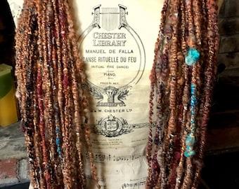 Handspun Yarn, Art Yarn, Bulky, Thick and Thin, 2 Ply, Coil Ply, Wool, Bamboo, Alpaca, Textured, Silk, Ribbon, Sparkle, Salted Caramel