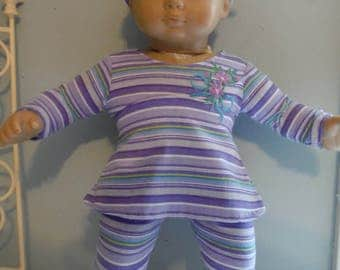 15 or 16 inch doll or Bitty Baby or Bitty twin outfit, purple striped top, pants and matching headband