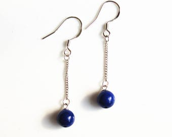 100% natural gemstone lapis lazuli beads 925 sterling silver drop earrings handmade jewelry