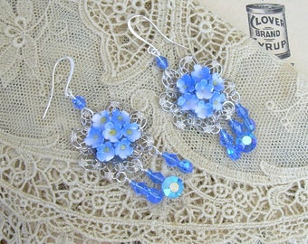 Assemblage Earrings with Vintage Forget Me Not China Flowers
