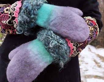 Blue mittens Wool gloves Warm mittens Blue gloves Felted gloves Winter gloves Felt gloves Warm gloves Woman gift idea Knit mittens