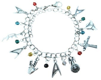 Star Trek inspired charm bracelet in gift box