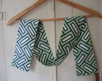 Vintage 1960s mod geometric scarf navy blue green and whitel 4 x 44 inches