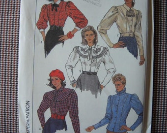vintage 1980s simplicity sewing pattern 8240 UNCUT misses semi fitted blouse size 10-12-14