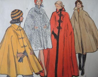 vintage 1970s Vogue sewing pattern 8416  misses cape in four lengths size medium 12-14