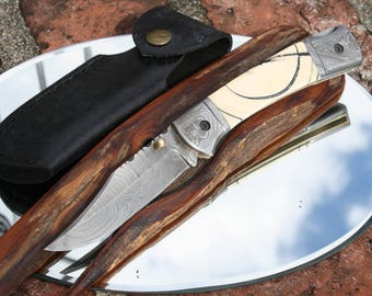 Handmade in USA Damascus Folding Hunter Knife with Rare Crosscut Fossil Handles, Custom File Work, Leather Sheath, FREE Shipping