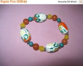 SALE 60% Off Owl bead bracelet, beaded stretch bracelet, estate jewelry, hippie, boho