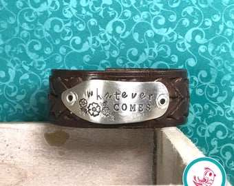Whatever Comes Leather Chick Cuff