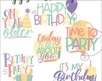 Birthday Clipart -Personal and Limited Commercial Use- Happy Birthday Party Clip Art