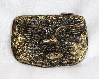 Vintage eagle belt buckle…flying eagle belt buckle...bald eagle buckle...gold tone...