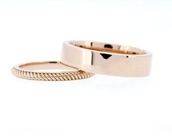 Corda wedding band set, matching wedding rings, wide wedding band, rose gold, yellow gold, white, braid, rope, promise, man simple ring