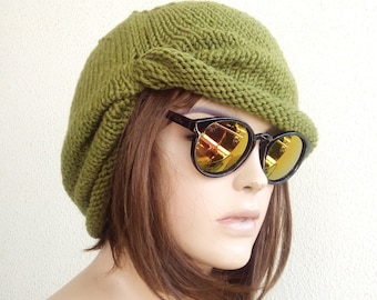READY SHIP WINTER Chemo Cap - Green Chemo Hat Womens Cancer Headwear and Slouch Beanie