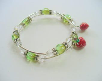 Memory Wire  Bracelet, Strawberry Enameled Charm Bracelet, Green and Silver Wire Bracelet, Silver Bracelet, Summer Bracelet, Jewelry