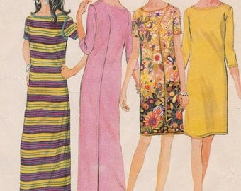 """1968 One Piece Wrap-Around Dress-Maxi or Knee Length Vintage Sewing Pattern [McCall's 9181] Size Med 12-14, Bust 34""""-36"""", Complete"""