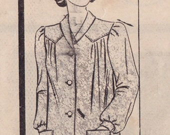 """RARE 50s Woman's Smock or Housecoat Vintage Sewing Pattern [Marian Martin 9845] Size 14, Bust 32"""", Complete"""