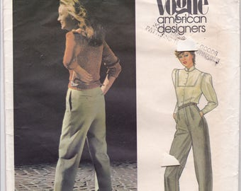 FF 80s High Waist Pants Pattern Perry Ellis American Designer Proportioned Slim Trouser Women Sewing Pattern [Vogue 2677] Size 10, UNCUT