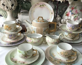 Thomas Sevres Tea Set for 6 , 22 Pieces Hand Painted Pastel Flowers with Hutschenreuther Teapot