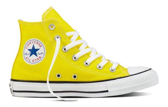 Custom Converse Fresh Yellow Lemon Bright Bling Canvas High Top w/ Swarovski Crystal Rhinestone Chuck Taylor All Star Wedding Sneaker Shoe