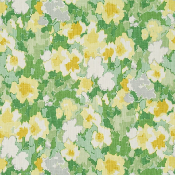 Yellow Green Floral Upholstery Curtain Fabric by the Yard