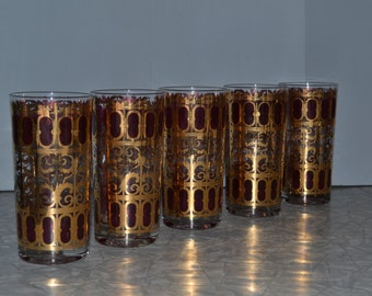 Culver Cranberry Scroll 22K Glasses ~ SET/ 5 Hollywood Regency HiBalls ~ Red Culver ~ Mid Century ~ Epsteam