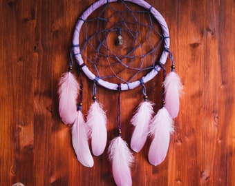 Dream Catcher - Purple Dreams - Bohemian Dreamcatcher with puple frame and feathers - Amethyst Amulet - Violet Home Decor,Nursery Decoration