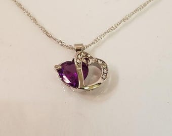 925 Sterling Silver Austrian Crystal Heart Shaped Pendant Necklace, Available in 5 colors, Aquamarine, Purple, Pink, Red, Blue, Perfect Gift