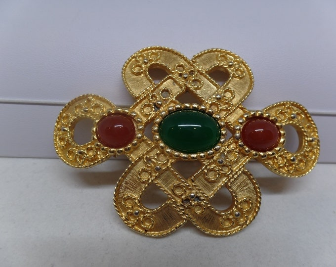 Gorgeous Vintage JUDITH LEIBER signed Red & Green Cabochon Brooch